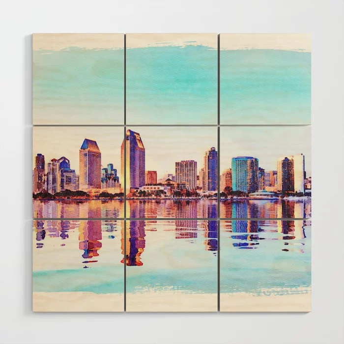 Digital artwork of the skyline of San Diego printed on wood blocks at Society6