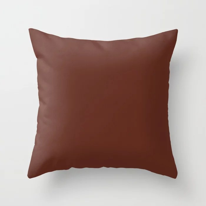 Brownish Red Trending Solid Color: Hue inspired by and matches (pairs / coordinates with) Jolie 2021 Color of the Year Accent Shade Terra Rosa Throw Pillow