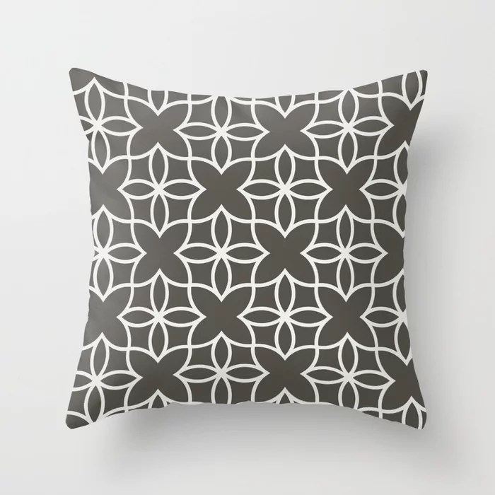 Brown and White Line Art Pattern 4 Flower V2 2021 Color of the Year Urbane Bronze and Extra White Throw Pillow