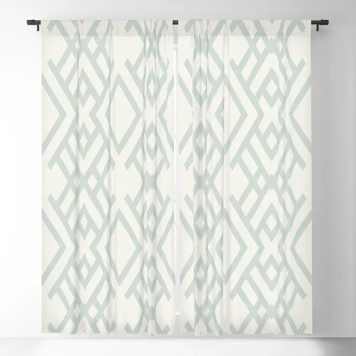 Pastel Green and Cream Striped Art Deco Pattern Pairs Behr 2022 Color of the Year Breezeway MQ3-21 Blackout Curtain. Spring/Summer 2022 color forecast