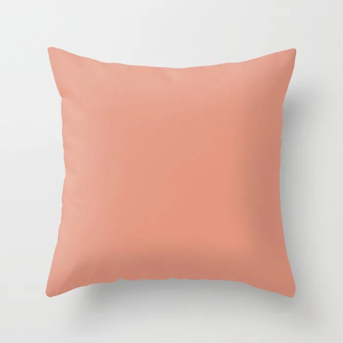 Animated Coral Pink Solid Color Accent Shade / Hue Matches Sherwin Williams Sockeye SW 6619 Throw Pillow