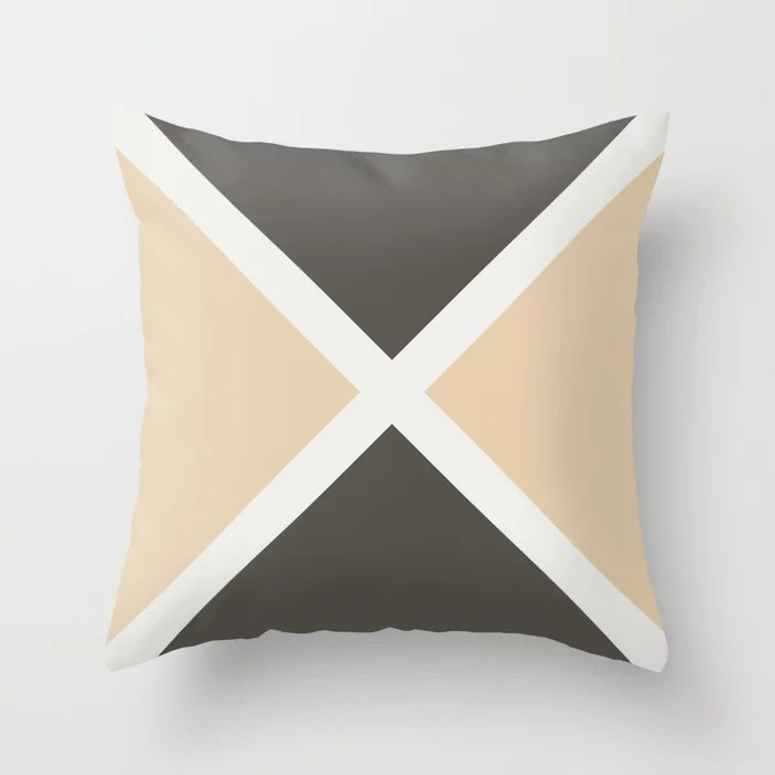 Brown Tan White Minimal Diagonal Stripe Pattern Throw Pillows match and coordinate with Sherwin Williams Paints 2021 Color of the Year Urbane Bronze & Accents