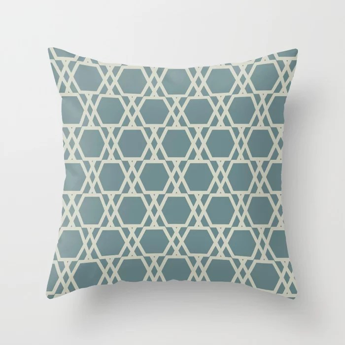 Soft Aqua Blue Beige Tessellation Line Pattern 20 2021 Color of the Year Aegean Teal Sweet Spring Throw Pillow