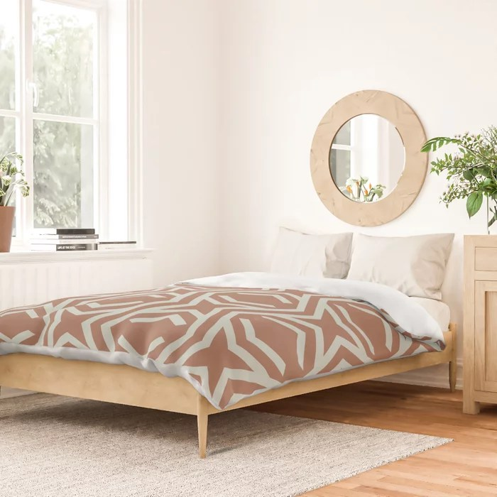 Pastel Green and Clay Stripe and Star Pattern Behr 2022 Color of the Year Breezeway MQ3-21 Duvet Cover. 2022 color trend