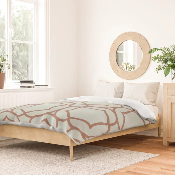 Pastel Green and Clay Shape Tile Pattern 2 Pairs Behr 2022 Color of the Year Breezeway MQ3-21 Duvet Cover. 2022 color trend