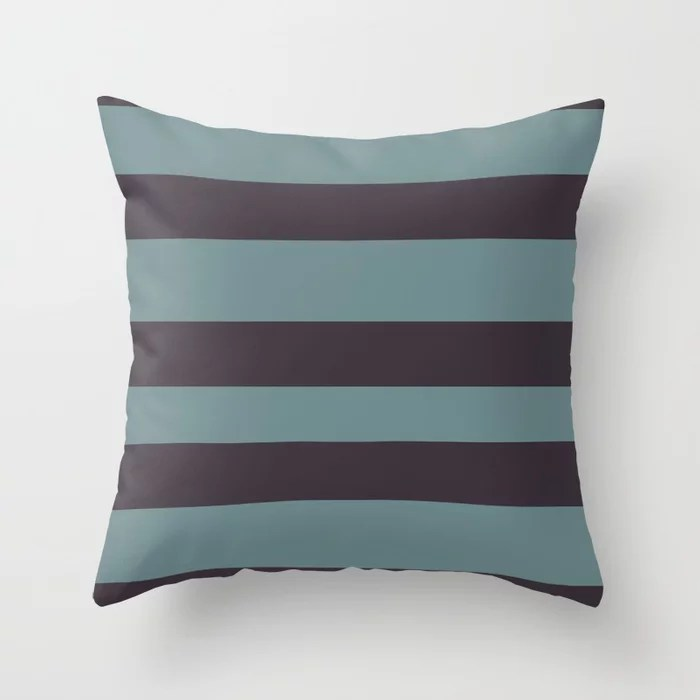 Blue-Green Purple Minimal Horizontal Line Pattern 2021 Color of the Year Aegean Teal Tulsa Twilight Throw Pillow