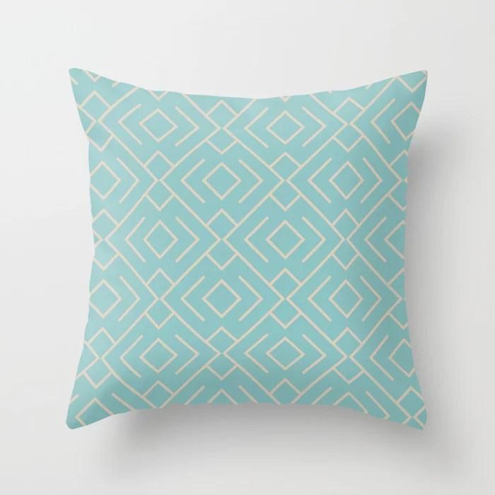 Aquamarine Beige Geometric Mosaic Pattern 4 Color of the Year Aqua Fiesta and Sourdough Throw Pillow