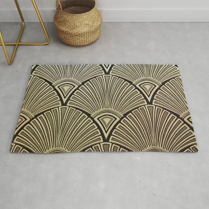 Golden Art Deco Pattern Rug By Healinglove8 Society6