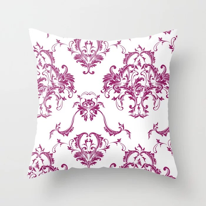 Magenta and White Damask Scroll Baroque Pattern - Colour of the Year 2022 Orchid Flower 150-38-31 Throw Pillow