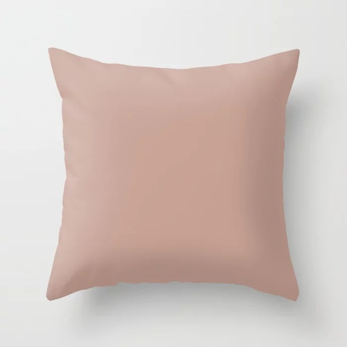 Pale Medium Pink Solid Color Accent Shade / Hue Matches Sherwin Williams Cabbage Rose SW 0003 Throw Pillow