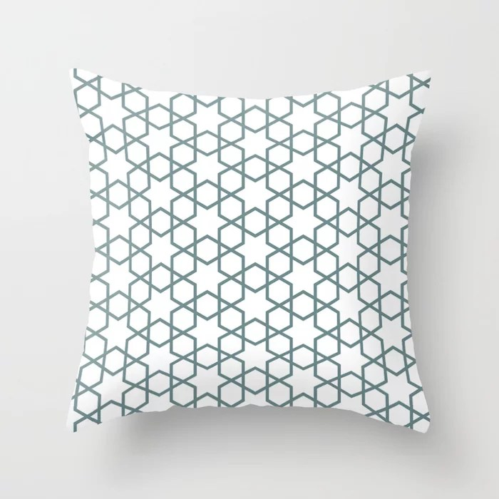 Muted Aqua and White Abstract Stars and Diamond Line Art Pattern 2021 Color of the Year Aegean Teal Throw Pillow