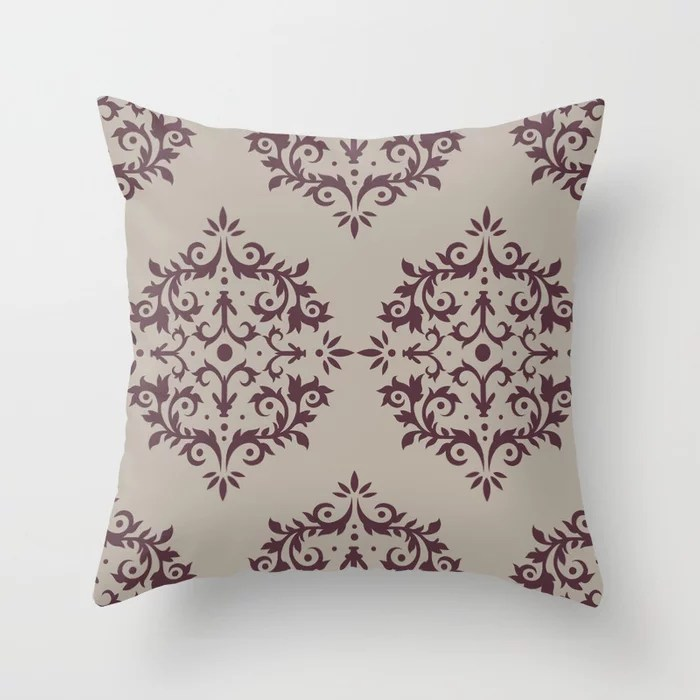 Deep Purple Gray Taupe Damask Scroll Pattern Throw Pillows inspired by and pairs to (matches / coordinates with) Graham and Brown 2021 Color of the Year Epoch and Fondue