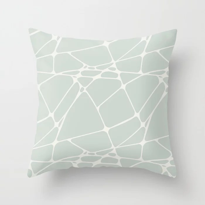 Pastel Green and Cream Abstract Mosaic Pattern 1 Pairs Behr 2022 Color of the Year Breezeway MQ3-21 Throw Pillow. 2022 color scheme, trending interior design hue.