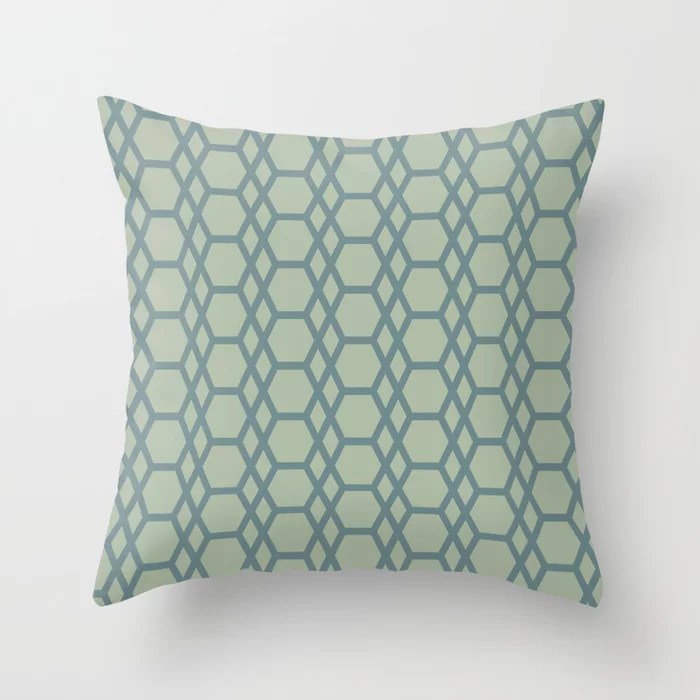 Blue-Green Line Pattern 13 Hexagon Diamond 2021 Color of the Year Aegean Teal and Salisbury Green Throw Pillow