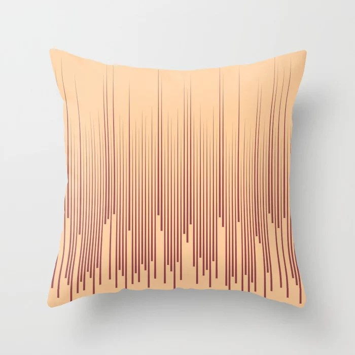 Red and Peach Frequency Line Art Pattern 2021 Color of the Year Passionate and Pale Apricot Throw Pillow