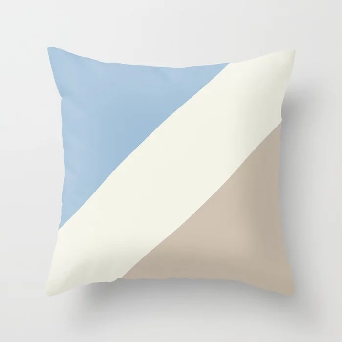Pastel Blue Off White Beige Stripe Pattern Throw Pillows inspired by and pairs to (matches / coordinates with) Dutch Boy 2021 Color of the Year Earth's Harmony & Accent Hues