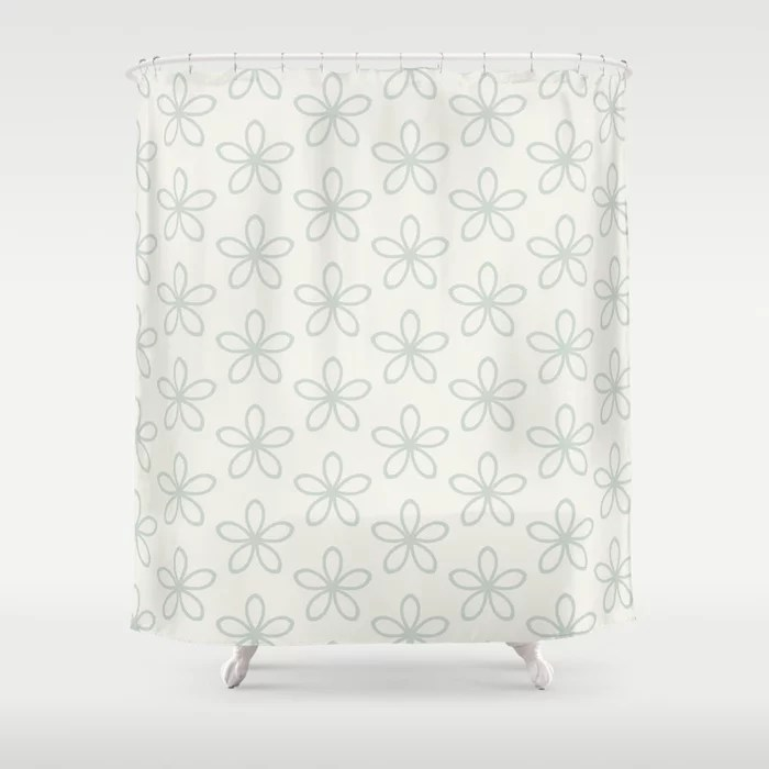 Pastel Green and Cream Minimal Flower Pattern Pairs Behr 2022 Color of the Year Breezeway MQ3-21 Shower Curtain. 2022 color trend