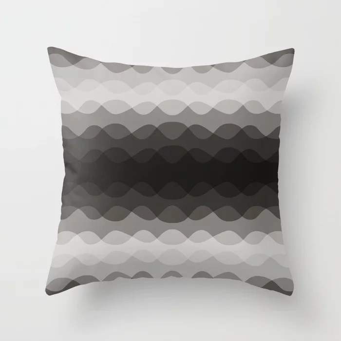 Dark Brown Overlapping Wavy Stripe Pattern 2021 Color of the Year Urbane Bronze Throw Pillow