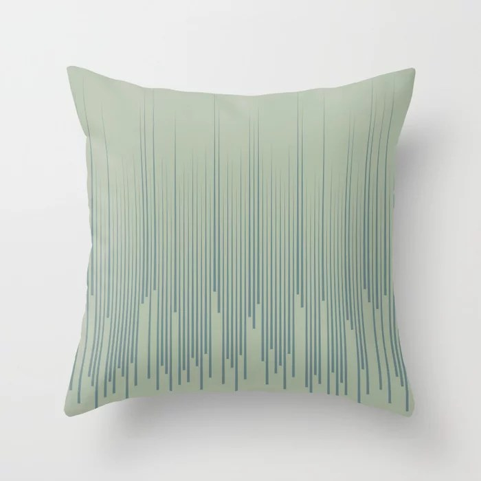 Blue-Green Frequency Line Art Pattern 2021 Color of the Year Aegean Teal and Salisbury Green Throw Pillow
