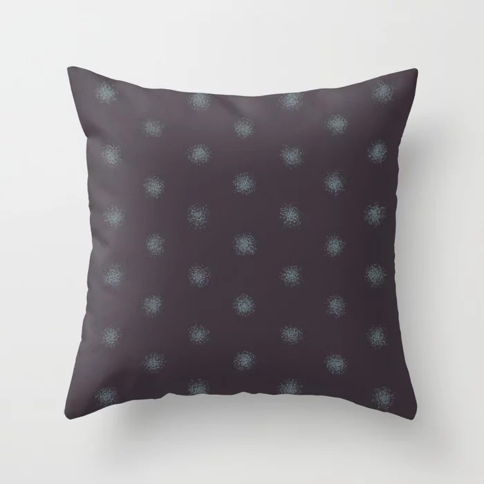Muted Aqua and Purple Splatter Polka Dot Pattern 2021 Color of the Year Aegean Teal Tulsa Twilight Throw Pillow