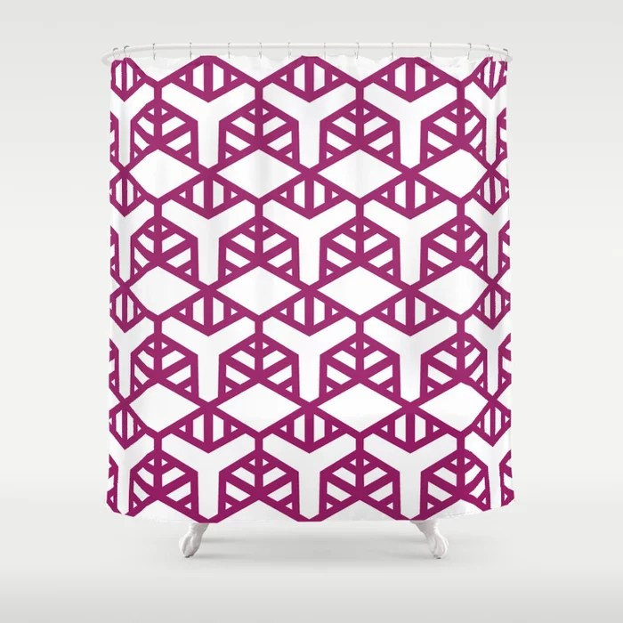 Magenta and White Geometric Shape Tile Pattern - Colour of the Year 2022 Orchid Flower 150-38-31 Shower Curtain - 2022 colour trends interior decorating fuchsia - purple - pink