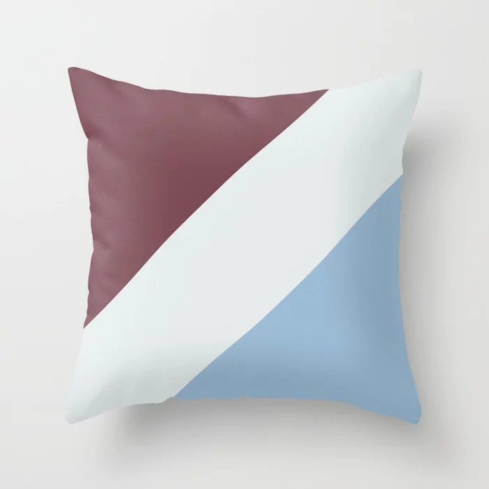 Pastel Blue White Burgundy Diagonal Stripe Pattern Throw Pillows inspired by and pairs to (matches / coordinates with) Dutch Boy 2021 Color of the Year Earth's Harmony & Accents