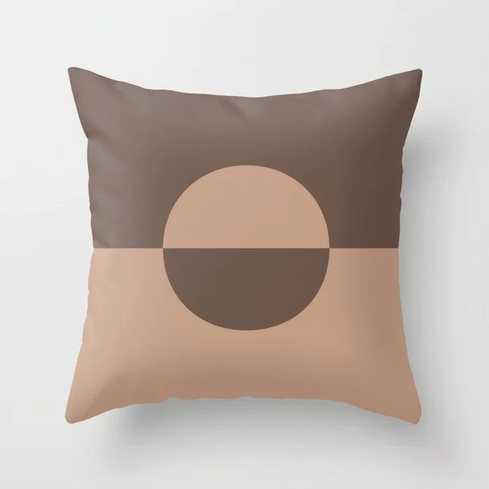 Sand Beige Mid-tone Brown Circle Design 2 Behr 2021 Color of the Year Canyon Dusk Moose Trail Throw Pillow