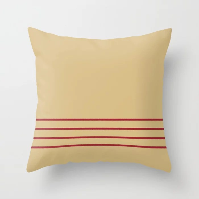 Beige and Red Thin 4 Stripe Pattern 2021 Color of the Year Satin Paprika and Sunlit Brass Throw Pillow