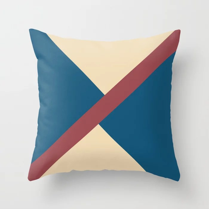 Red Blue Beige Minimal Thin Angled Line Pattern 2021 Color of the Year Passionate and Accent Shades Throw Pillow