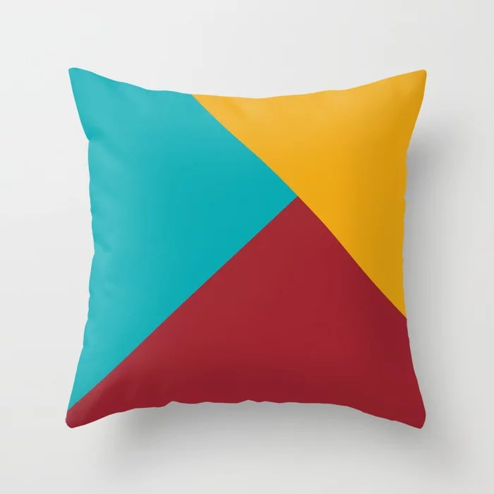 Red Aqua Orange Solid Color Abstract Pattern 2021 Color of the Year Satin Paprika and Accent Shades Throw Pillow