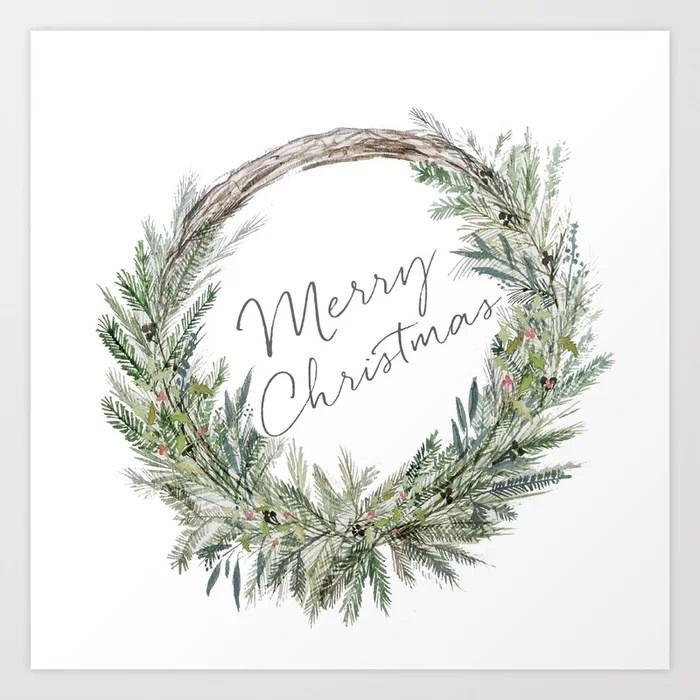 Sunday's Society6 | Christmas Wreath art print