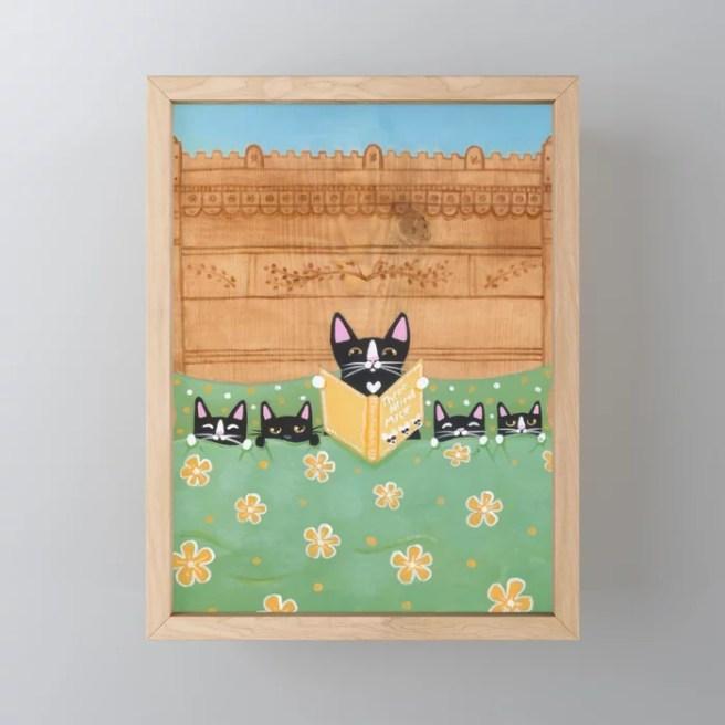 Kitten Bed Time Story Framed Mini Art Print