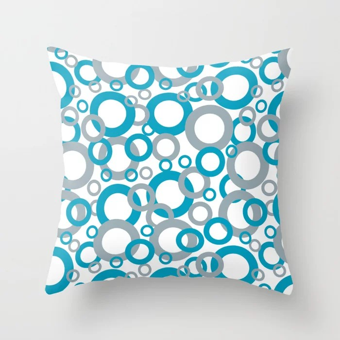 Blue Green, Gray, White Geometric Ring Pattern 2021 Color of the Year AI Aqua Throw Pillow