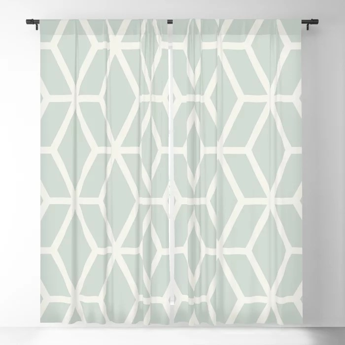 Mint Green and Cream Tessellation Pattern 16 Behr 2022 Color of the Year Breezeway MQ3-21 Blackout Curtain. Spring/Summer 2022 color forecast