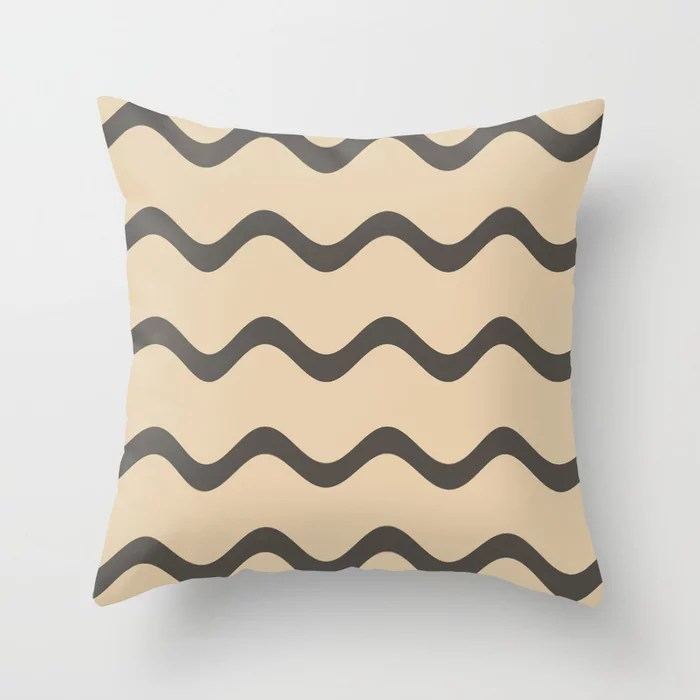 Dark Brown Tan Rippled Horizontal Stripe Pattern 2021 Color of the Year Urbane Bronze and Ivoire Throw Pillow