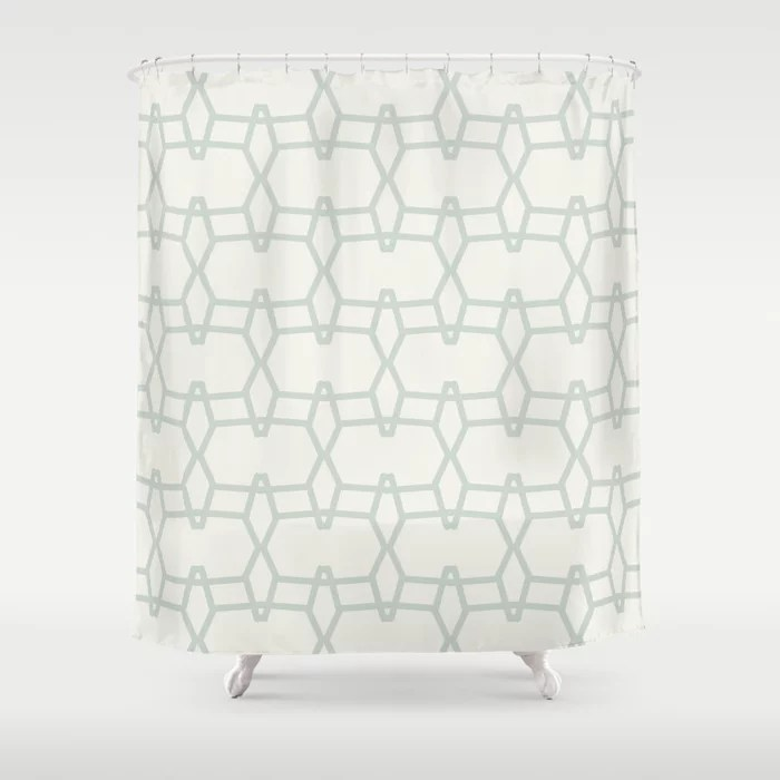 Mint Green and Cream Tessellation Line Pattern 9 Behr 2022 Color of the Year Breezeway MQ3-21 Shower Curtain. 2022 color trend