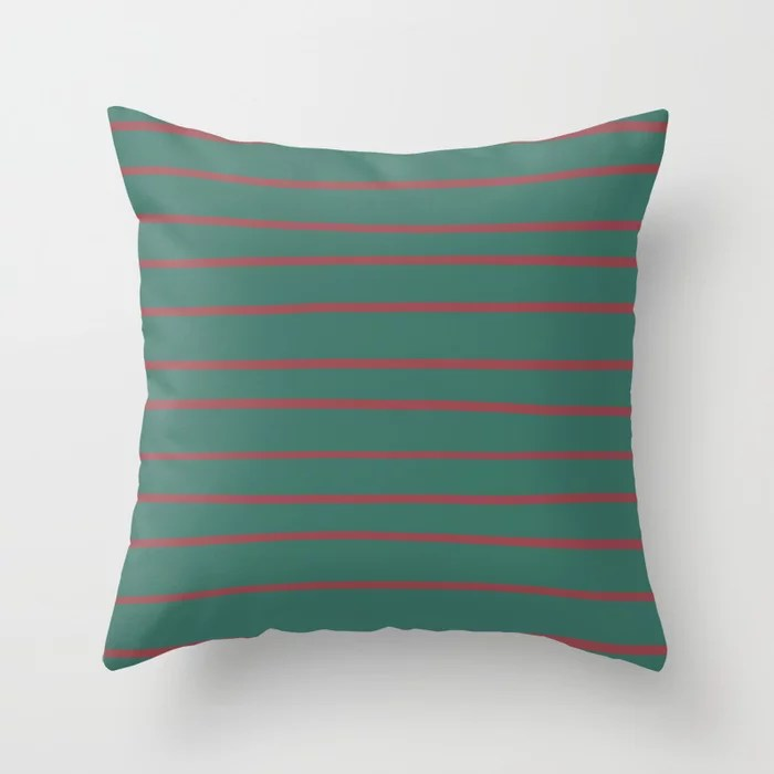 Red Dark Green Horizontal Stripe Pattern 2021 Color of the Year Passionate and Cloverfields Throw Pillow