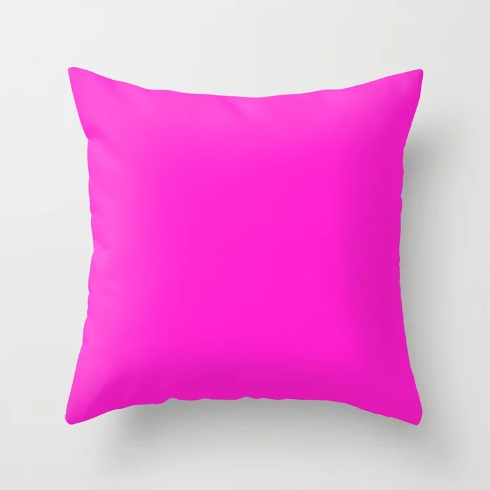 From The Crayon Box – Purple Pizza - Bright Pink Purple Solid Color Throw Pillow