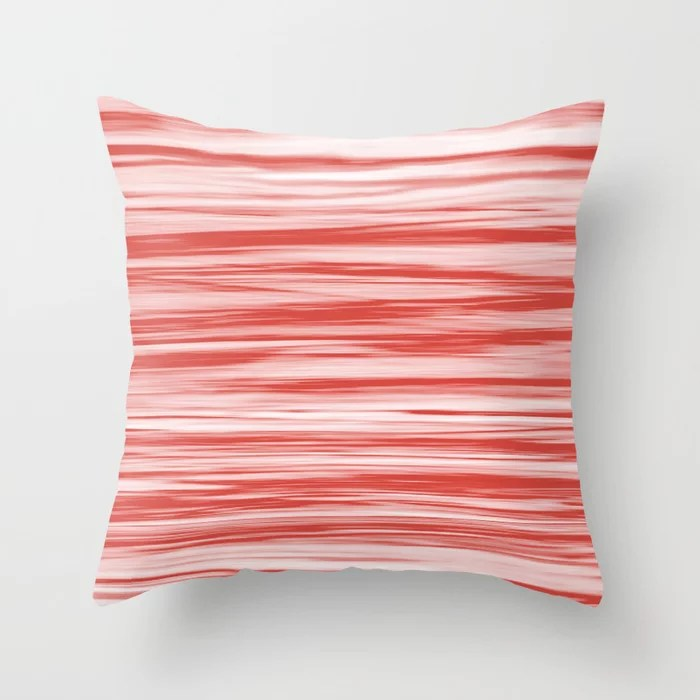 Red and White Stripes Watercolor Blend - Oxy Fire Throw Pillow