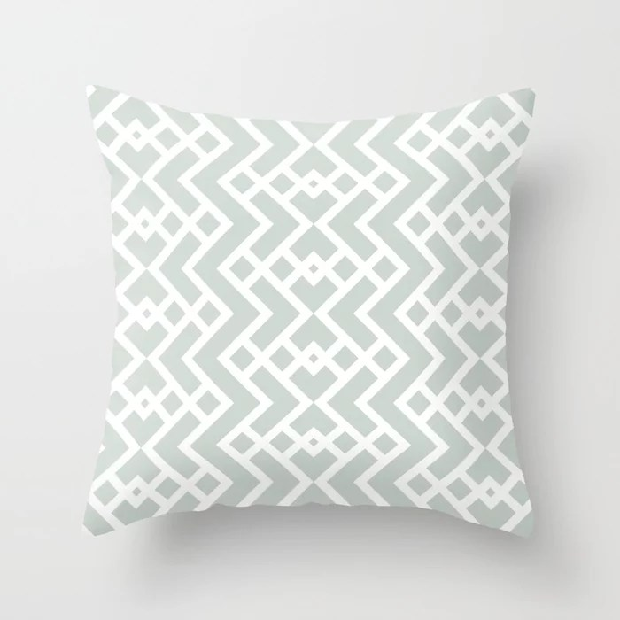Mint Green and White Tessellation Pattern 25 Behr 2022 Color of the Year Breezeway MQ3-21 Throw Pillow. 2022 color scheme, trending interior design hue.