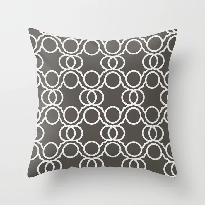 Brown And White Geometric Circle Pattern V2 Throw Pillow Matches Sherwin Williams Paints 2021 Color of the Year Urbane Bronze and Ivoire