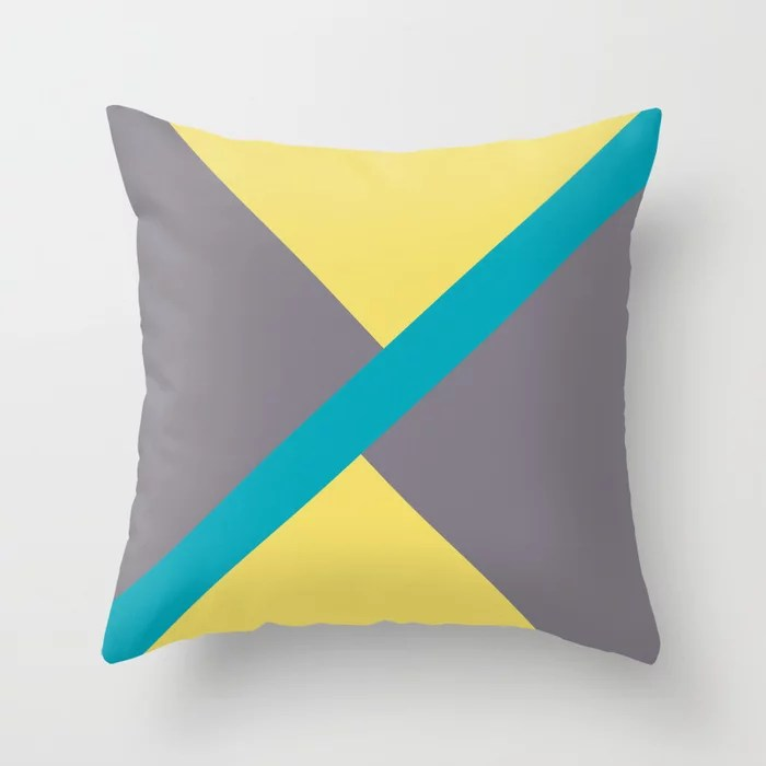 Blue-Green Yellow Gray Diagonal Shape Pattern 2021 Color of the Year AI Aqua 098-59-30 Throw Pillow