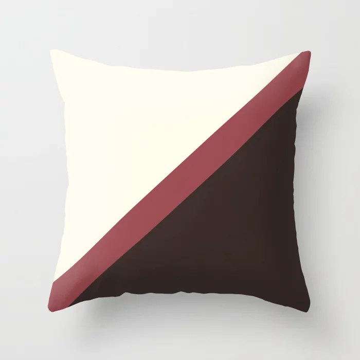 Red Off-White Brown Thin Angled Line Pattern 2021 Color of the Year Passionate and Accent Shades Throw Pillow