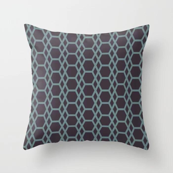Blue-Green Purple Line Pattern 13 Hexagon Diamond 2021 Color of the Year Aegean Teal Tulsa Twilight Throw Pillow
