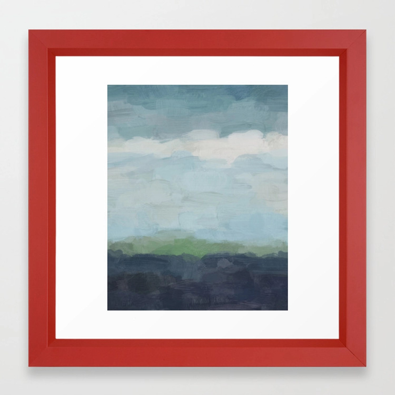 Navy Teal Aqua Sky Blue Green Abstract Wall Art Painting Art Nature Horizon Modern Wall Framed Art Print By Rachelelise Society6