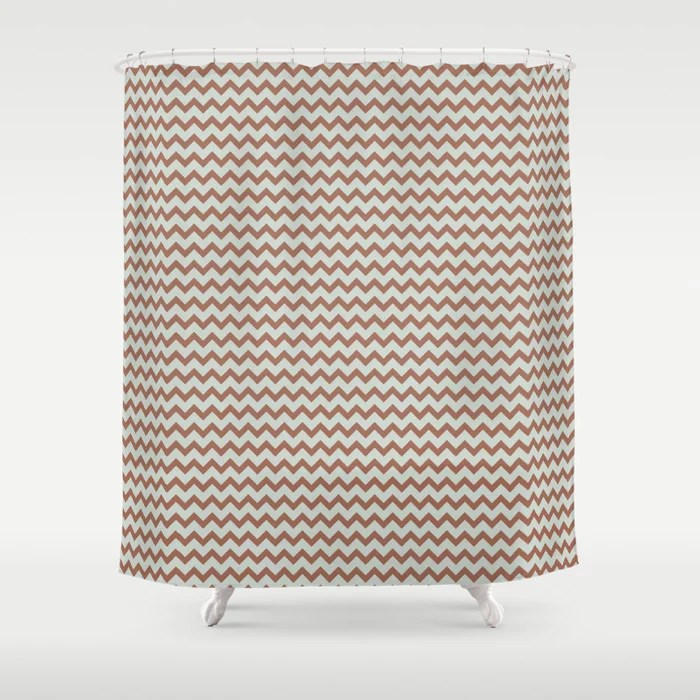 Pastel Green and Clay Chevron Zig Zag Pattern Pairs Behr 2022 Color of the Year Breezeway MQ3-21 Shower Curtain. 2022 color trend