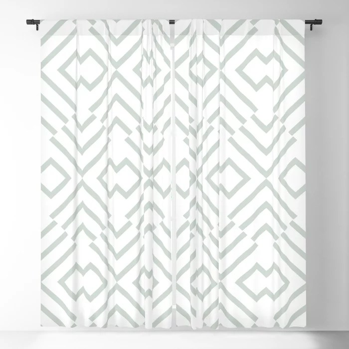 Mint Green and White Art Deco Shape Pattern Behr 2022 Color of the Year Breezeway MQ3-21 Blackout Curtain. Color for 2022