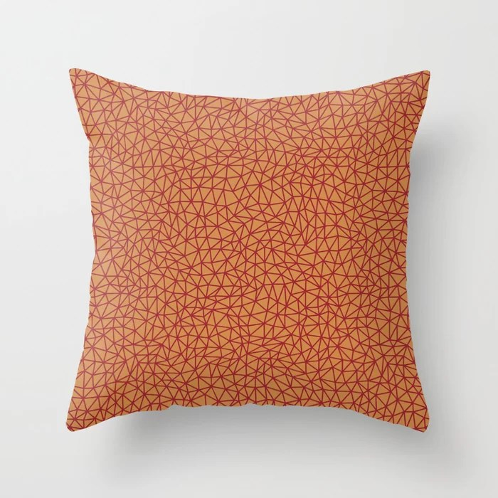Red Orange Brown Triangle Shape Pattern 2021 Color of the Year Satin Paprika and Satin Warm Caramel Throw Pillow