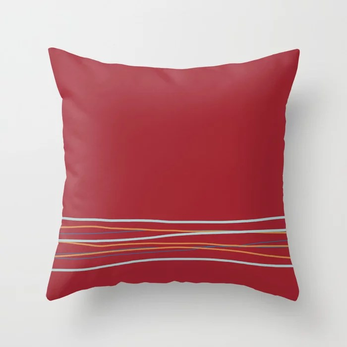 Multi Colored Scribble Line Design Bottom V2 Rustoleum 2021 Color of the Year Satin Paprika & Accent Throw Pillow