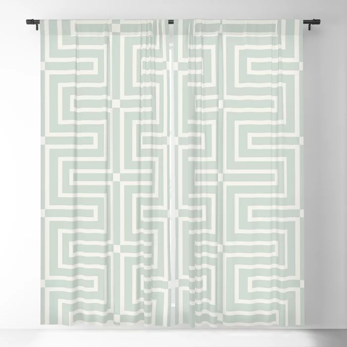 Mint Green and Cream Tessellation Line Pattern 3 Behr 2022 Color of the Year Breezeway MQ3-21 Blackout Curtain. Decorating colors for 2022